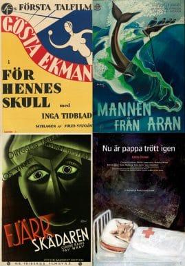 Collage med fyra svenska filmaffischer